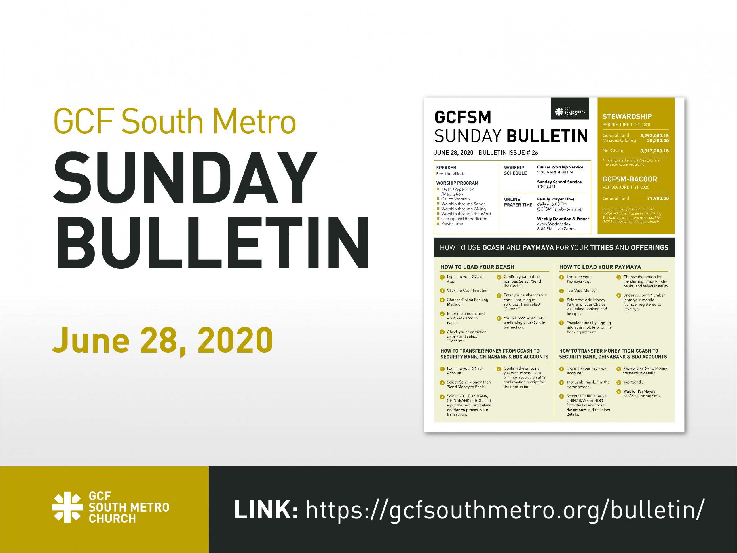Sunday Bulletin, June 28, 2020