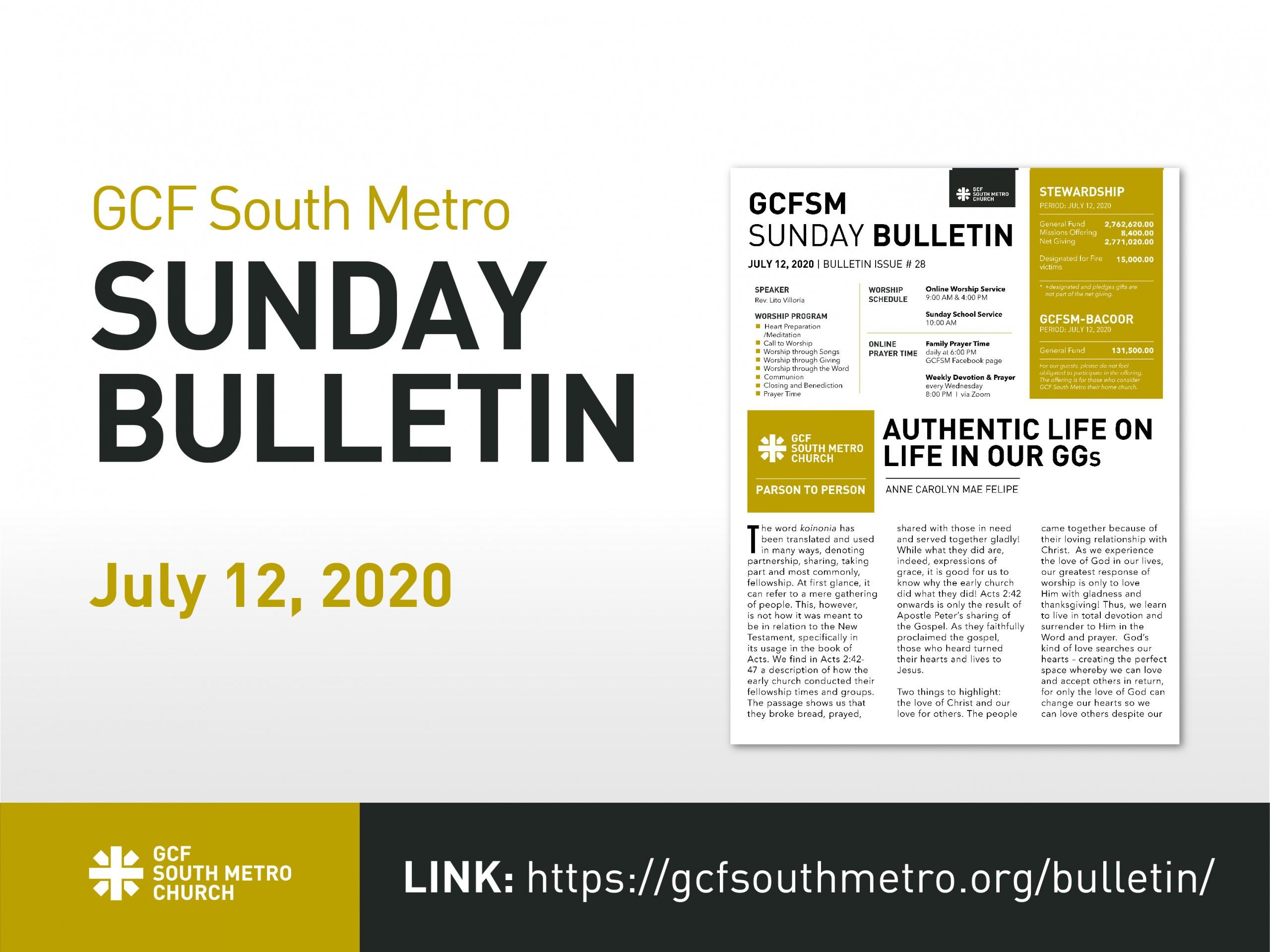 Sunday Bulletin, July 12, 2020