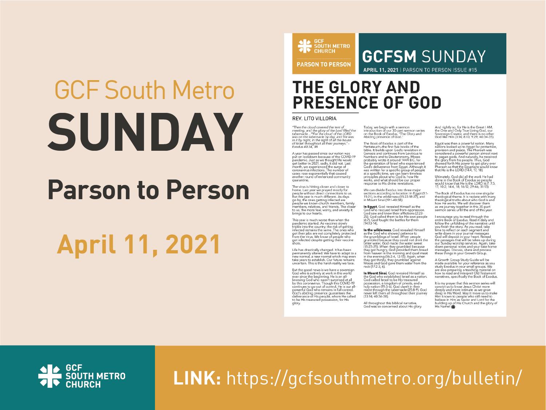 Sunday Bulletin – Parson to Person, April 11, 2021