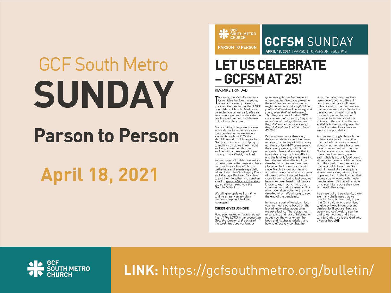 Sunday Bulletin – Parson to Person, April 18, 2021