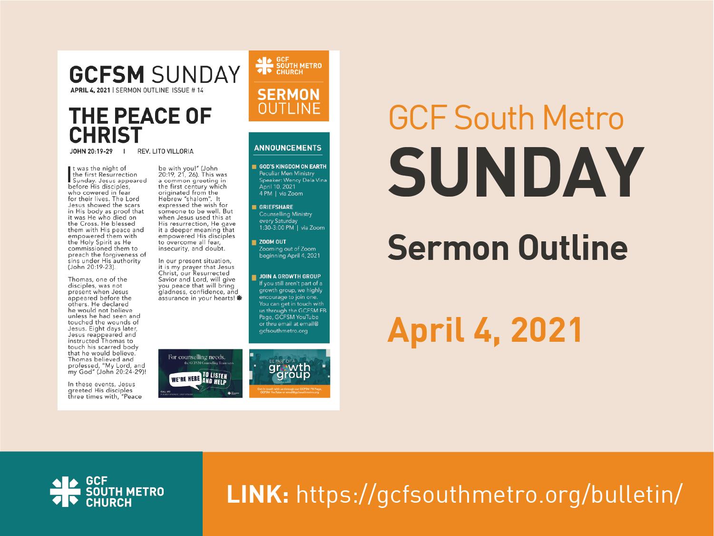 Sunday Bulletin – Sermon Outline, April 4, 2021