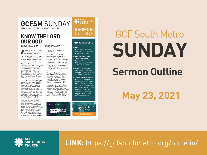 Sunday Bulletin – Sermon Outline, May 23, 2021