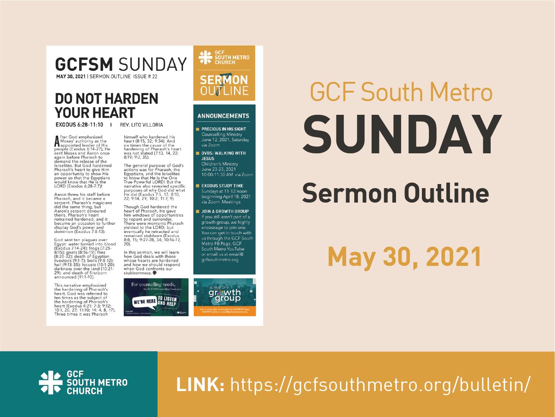 Sunday Bulletin – Sermon Outline, May 30, 2021