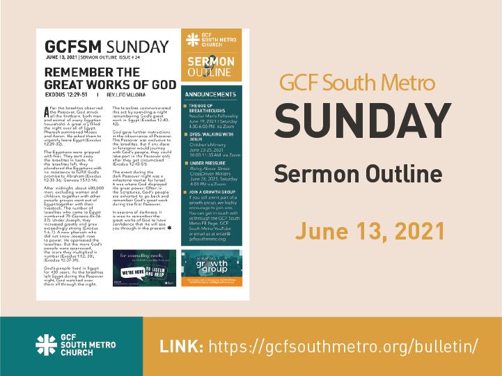 Sunday Bulletin – Sermon Outline, June 13, 2021