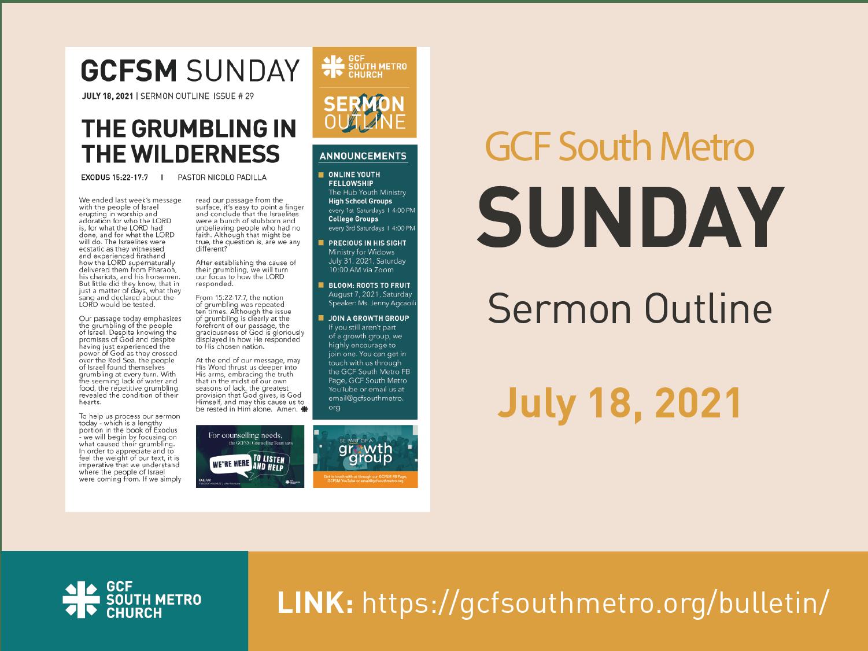 Sunday Bulletin – Sermon Outline, July 18, 2021