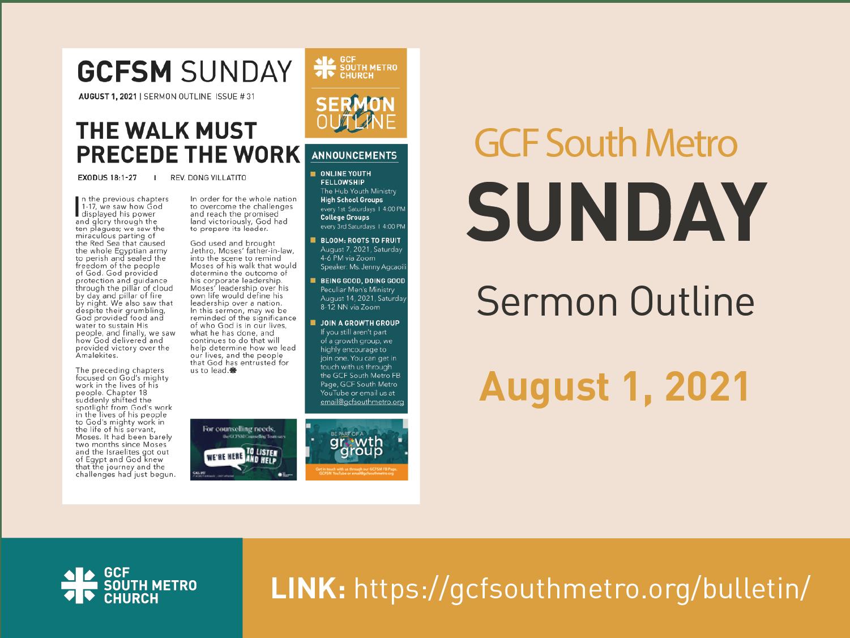 Sunday Bulletin – Sermon Outline, August 1, 2021