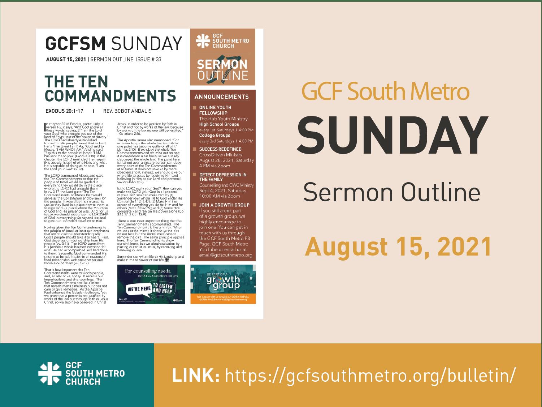Sunday Bulletin – Sermon Outline, August 15, 2021