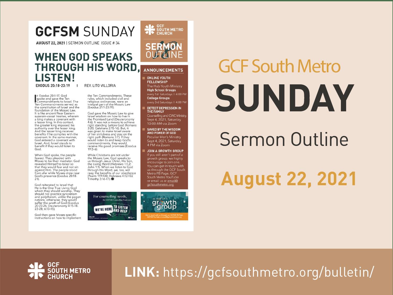 Sunday Bulletin – Sermon Outline, August 22, 2021