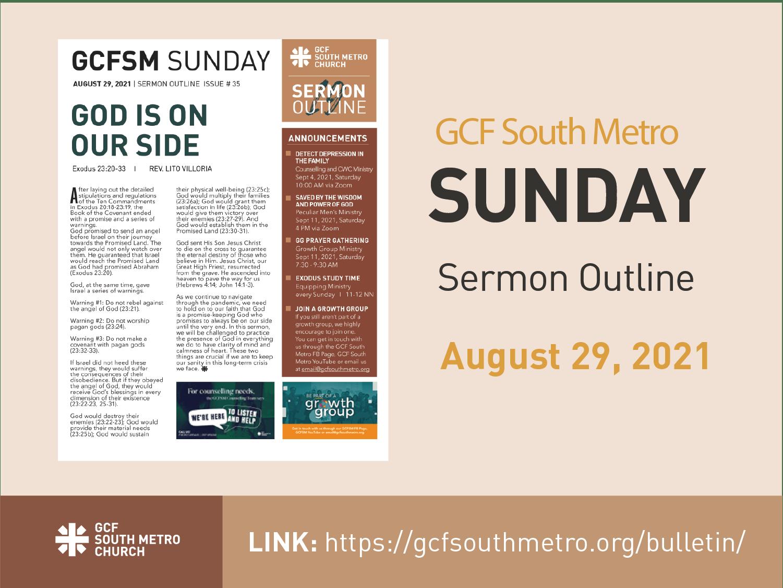 Sunday Bulletin – Sermon Outline, August 29, 2021