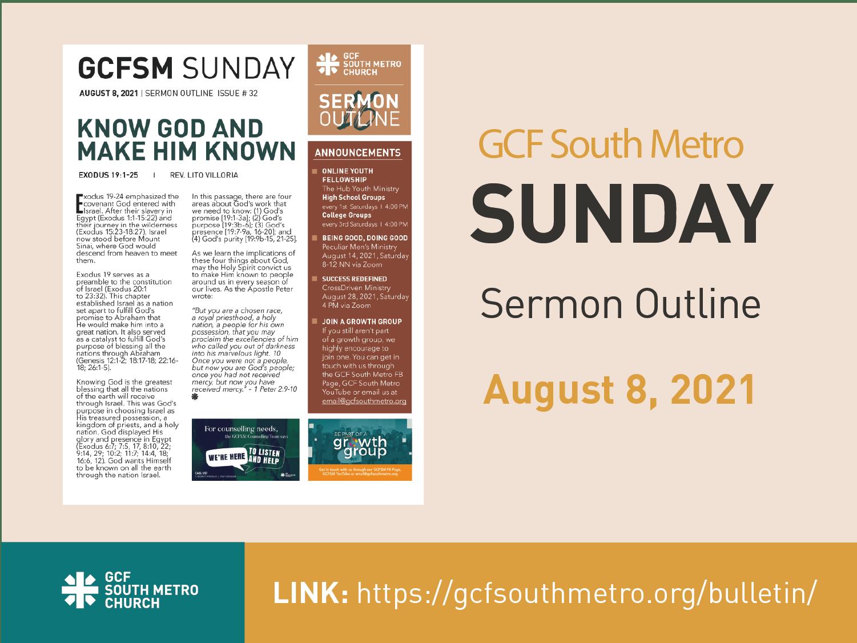 Sunday Bulletin – Sermon Outline, August 8, 2021