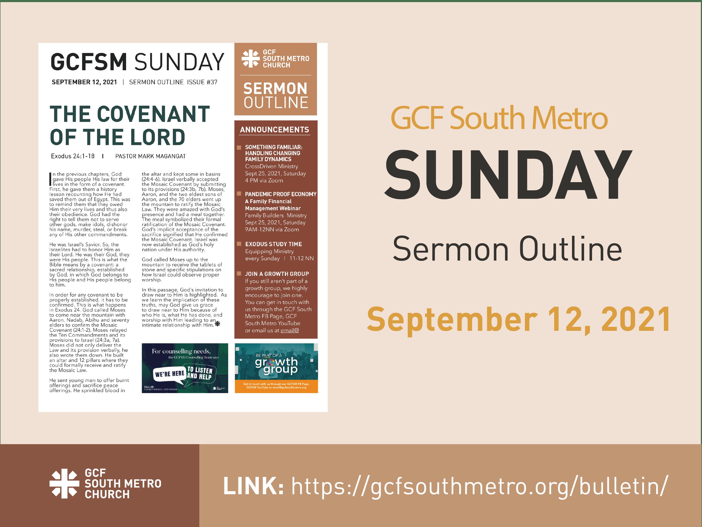 Sunday Bulletin – Sermon Outline, September 12, 2021