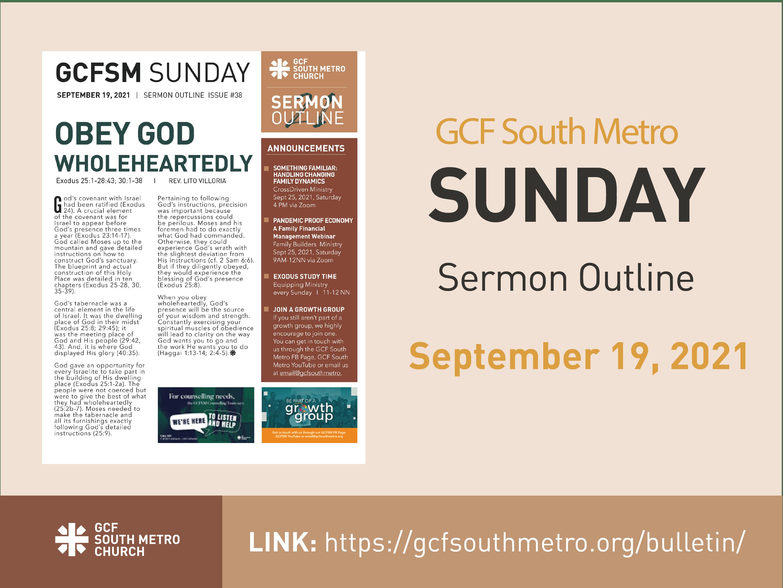 Sunday Bulletin – Sermon Outline, September 19, 2021