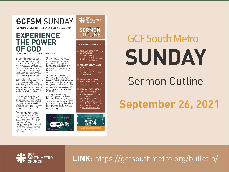 Sunday Bulletin – Sermon Outline, September 26, 2021