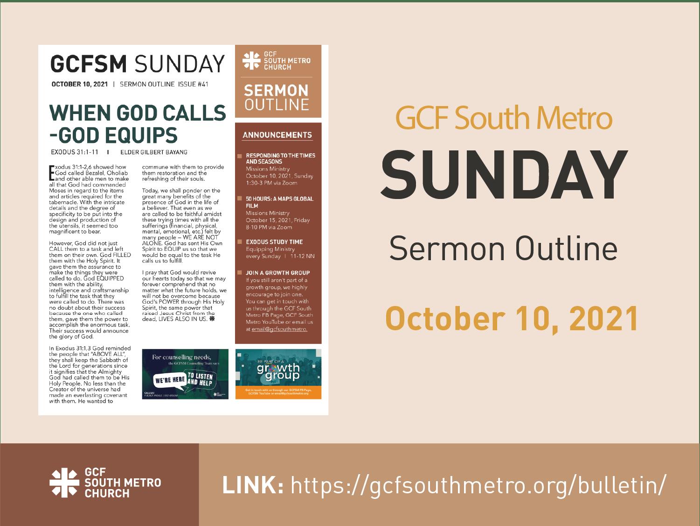 Sunday Bulletin – Sermon Outline, October 10, 2021