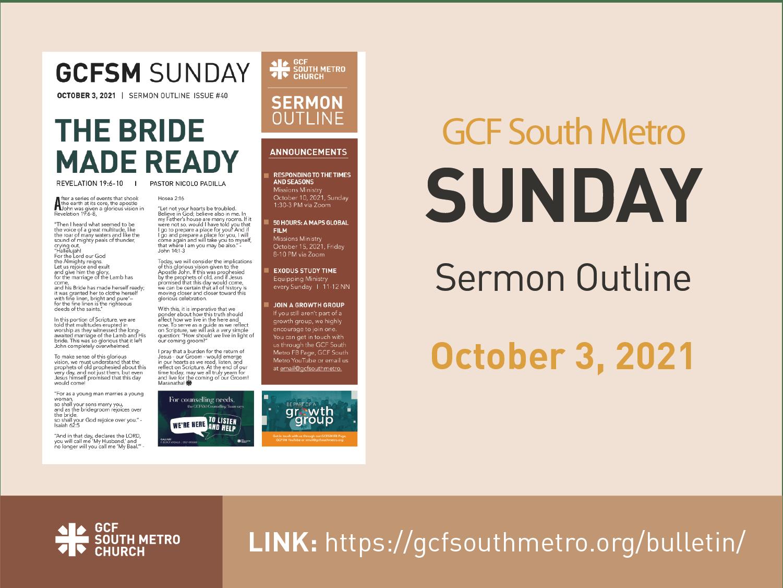 Sunday Bulletin – Sermon Outline, October 3, 2021